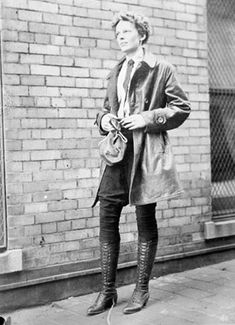 Amelia Earhart, dressed for flight during a visit to her hometown, 1928, Chicago.