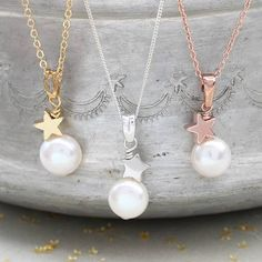 Bridal White Pearl Pendant with Star