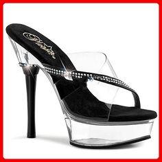 6c81ab5bf791f3 Pleaser Allure-603 Sexy Plateau High Heels Sandaletten mit Strass  Transparent Schwarz 35-44