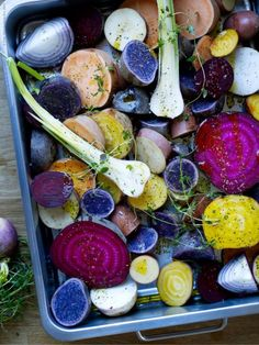 colorful beets, potatoes, and yams | via ikea