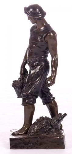 Levasseur H., the grape harvest, patinated bronze, marked 'Société des Bronzes de Paris - B 5649', H 60 cm