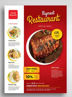 Meat Restaurant Flyer by uicreativenet on Envato Elements Restaurant Poster, Restaurant Flyer, Restaurant Menu Template, Restaurant Identity, Graphic Design Flyer, Food Poster Design, Food Menu Design, Brochure Food, Brochure Design