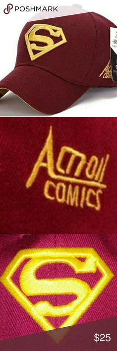 Men's Flexfit Superman Ball Cap Wine & Gold NWT NWT Superman Baseball Cap  Color: Wine & Gold Flexfit Accessories Hats