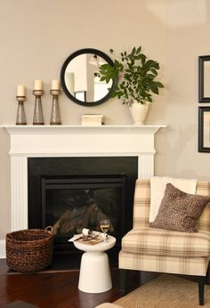 BEFORE AND AFTER VININGS LIVING ROOM Corner FireplacesFireplace MantlesFireplace IdeasFireplace