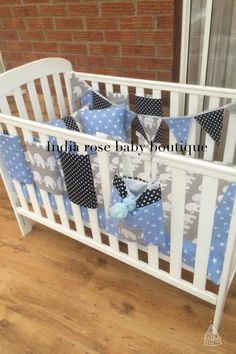 Full baby bedding set with safer alternative bar bumpers created using greys and blues