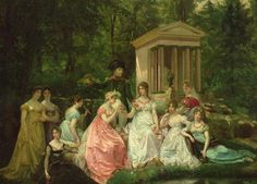 Napoleon and Josephine with her daugher and ladies in the garden at the Chateau Malmaison. Queen Josephine elisted the talent of botanist and artist Pierre Joseph Redoute