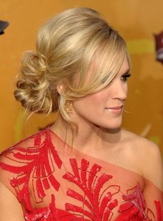 Updo- Carrie Underwood look amazing! Could be a great hairstyle for a bride or bridesmaid.                                                                                                                                                     More