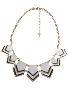 Two-Tone Chevron Pendant Necklace
