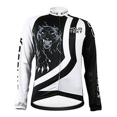 KOOPLUS Unisex Customized Tiger Spring Autumn Long Sleeve Polyester Cycling Jersey - Black and White , Font 4-Text Color 1 * Continue to the product at the image link.