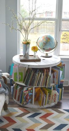 This old spool was purchased secondhand and with some DIY work turned into a bookshelf. This sits in the kids playroom. Full tutorial is shared on the home decor blog. To see more visit- http://ourhousenowahome.com/