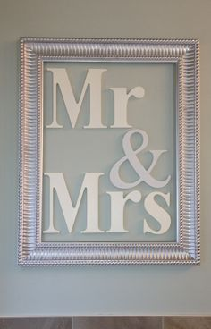 Mr & Mrs Wood Letters -  18x24 inch decorative frame with Homeworks Etc wooden letters hung inside.  #decorating #woodletters #ampersand