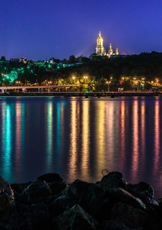 Kyiv - Ukraine: Night Reflections -  Lavra in Kyiv from the Left side of Dniper