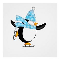 Cute Penguin with Christmas Snowflakes Scarf Ice Skating Illustration Isolated on White Background. Stock illustration by Jpldesigns.