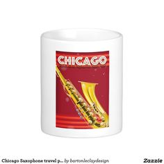 Chicago Saxophone travel poster print Classic White Coffee Mug