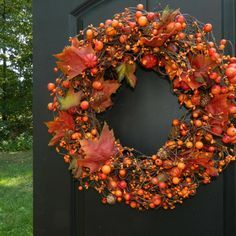 couronne de porte en nuances d'automne
