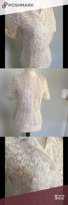 "Vintage 50's lace embroidered Blouse Beautiful blouse from the 50's.Great vintage condition with no seen wear.Clean and ready to wear.The last 2 buttons  have been replaced with mismatched buttons .Seems to fit a sz small.Please check your measurements:Bust-34"",length 22"".No tags attached. vintage 50's Tops Blouses"