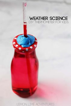 Weather is such a fascinating subject for kids. One of our favorite weather science experiments is this DIY Thermometer for Kids! Weather Activities, Science Activities For Kids, Stem Science, Kindergarten Science, Easy Science, Science Experiments Kids, Stem Activities, Science Ideas, Science Resources