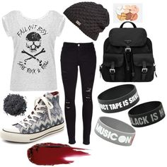 Fall out boy outfit by masquerademan on Polyvore featuring Frame Denim, Converse, Prada, Under Armour, Illamasqua and BHCosmetics