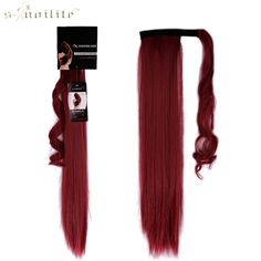 SNOILITE 26inch Synthetic Long Ponytail Clip In Pony Tail Hair Extensions Wrap on Hairpieces Straight Hairstyles Dark Red