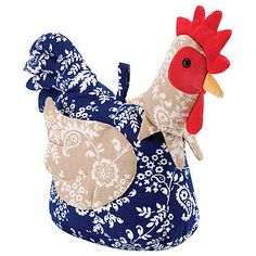 Ulster Weavers Chicken Rooster Door Stop Blue Beige Country Kitchen Textile Sculpture, Soft Sculpture, Chicken Coop Run, Fabric Crafts, Diy Crafts, Fabric Toys, Peg Bag, Chickens And Roosters, Oui Oui