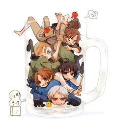 countries in a beer mug hetalia (Prussia, Germany, Italy, Romano, Spain and Japan )