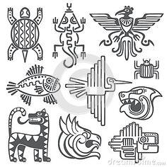 L Aztèque historique, symboles de vecteur d Inca, modèle maya de temple, culture de natif américain signe
