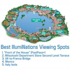 Map & Sample Photos of the Best IllumiNations Epcot Fireworks Viewing Spots!