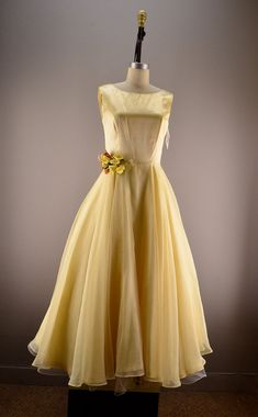 Pale yellow party dress Vintage bridesmaid dress by melsvanity, $78.00
