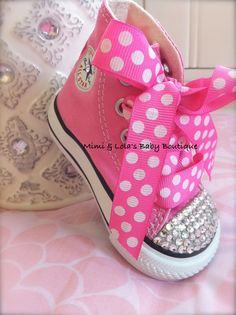 PINK BLING CONVERSE High tops with Swarovski by MimiandLolas