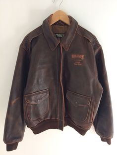 986ad9b24b2 U.S. Wings Berry 2004 TOP GUN Brown Leather Flight Jacket Size XL Made In  USA  USWings  Flight