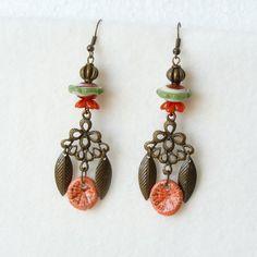 Bohemian Chandelier Earrings Lampwork Glass Bead by bleuluciole