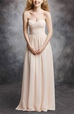 Nude Strapless A-Line Sweetheart Neck Bridesmaid Dress