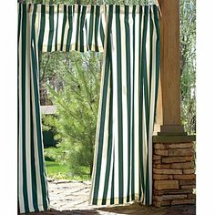 """Cabana Outdoor Curtain-50"""" x 108"""" - Hunter Green - Improvements by Improvements. $24.95. Use the Cabana Stripe Curtains to add privacy around a gazebo, to a porch, or in a 3-season room. These outdoor curtains help keep a room cooler by blocking out the sun. The Cabana Stripe Curtains have a 2-side design to look beautiful inside and out. Use the Cabana Stripe Curtains to add privacy around a gazebo, to a porch, or in a 3-season room. These outdoor curtains help keep a ..."""