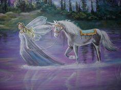 nursery fairy and her unicorn Unicorn And Fairies, Real Unicorn, Unicorns And Mermaids, Unicorn Wall, Castle Unicorn, Fairy Photography, Fairy Paintings, Fairy Statues, Mystical Forest