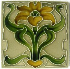 Decorative Ceramic tile 4 25 X 4 25 inches Illustration Vintage art nouveau 37 Art Nouveau Tiles, Art Nouveau Design, Antique Tiles, Antique Art, Azulejos Art Nouveau, Decorative Wall Tiles, Jugendstil Design, Artistic Tile, Tile Art