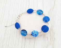Bracelet Argent 925 avec perles en verre de Murano filé au chalumeau Bleu roi-blanc : Bracelet par auverredoz