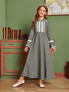 Houndstooth Dress, Plaid Dress, Belted Dress, Dress For Girl Child, Baby Boy Dress, Girls Maxi Dresses, Cute Dresses, Plaid Fashion, Kids Fashion