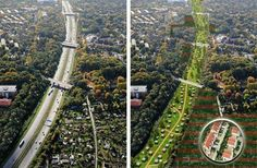 """GREENING THE CITY:  An innovative project to convert freeways into parkways in Hamburg, Germany! The fact that the right side now looks so """"futuristic"""" suggests how much progressive thought about urbanism has changed…"""