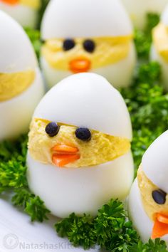 Easy and fun Easter Egg Recipe. A creative spin on traditional dressed eggs. Deviled egg chicks were the talk of my kitchen - the cutest Easter chicks! Easter Appetizers, Easter Dinner Recipes, Easter Brunch, Easter Desserts, Appetizer Recipes, Easter Deviled Eggs, Bacon Deviled Eggs, Deviled Egg Chicks Recipe, Scrambled Eggs