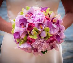 Beautiful pinks and purples in this wedding bouquet. #wedding #kauai #bouquet