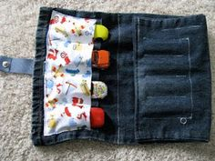 CREATE STUDIO: Toy Car and Crayon Clutch  http://createstudio.blogspot.com/2009/11/toy-car-and-crayon-clutch.html#