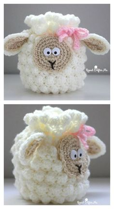 Crochet Bag Crochet Sheep Drawstring Bag Free Pattern - This Sheep Bag Free Crochet Pattern makes use of the bobble stitch. It is quick to finish and this pattern allows you to make it in bigger sizes too. Crochet Easter, Easter Crochet Patterns, Crochet Purse Patterns, Crochet For Kids, Crochet Summer, Bag Patterns, Stitch Patterns, Crochet Shell Stitch, Bobble Stitch
