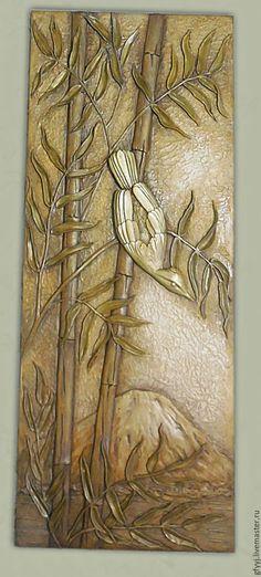 объемная картина из гипса бамбук