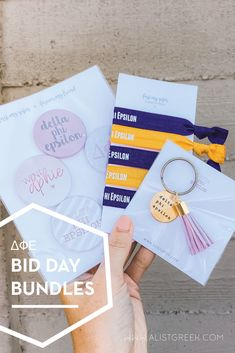 Spoil your new members this recruitment with the Pref Present bundle! Gift bag includes a sorority tassel keychain, hair tie set, and button set. Delta Phi Epsilon Gifts   Delta Phi Epsilon Bid Day   DPhiE New Member Gifts   DPhiE Rush Gift Bags   Delta Phi Epsilon Recruitment   Sorority Bid Day   Sorority Recruitment   Bid Day Bags   Sorority New Member Gift Ideas #BidDayGifts #SororityRecruitment Sorority Bid Day, Sorority Recruitment, Sorority Gifts, Omega Alpha, Alpha Epsilon Phi, Bid Day Gifts, Bid Day Themes, Greek Gifts, Tassel Keychain