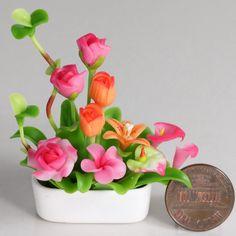 Dollhouse Miniature Rose Tulip Lily Flower Arrangement Bouquet Pot 1:12th (a04). $8.99, via Etsy.