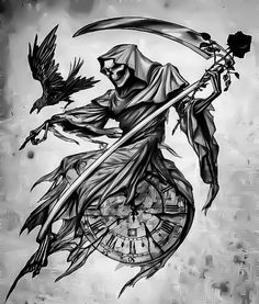 You almost ready Tattoo Design Drawings, Skull Tattoo Design, Tattoo Sleeve Designs, Tattoo Sketches, Sleeve Tattoos, Tatuaje Grim Reaper, Grim Reaper Art, Grim Reaper Tattoo, Evil Skull Tattoo
