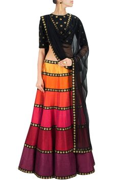 Black linen blouse with gold sequins floral motifs all over and cut out back comes along with raw silk lehenga in multi colour striped pattern with sequins embellishments and can can underlayer.