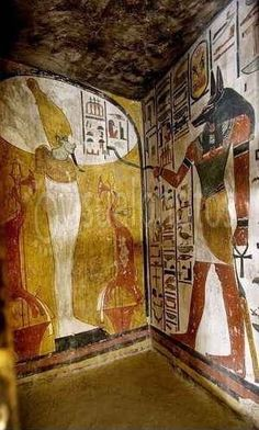 Egypt Mural paintings in the Tomb of Seti I. Valley of the Kings Luxor West Bank. Egypt