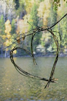 Twig heart - make it from trimmings in the garden and hang in the house for a touch of rustic love #DIY #home #garden