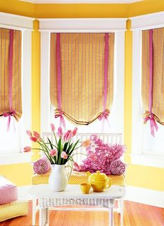 Love these window treatments for the bay windows in the Baby's room!
